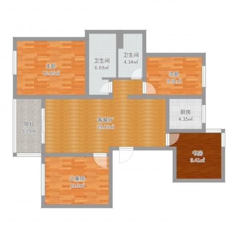 苏州玲珑湾4室2厅2卫1厨123.00㎡户型图