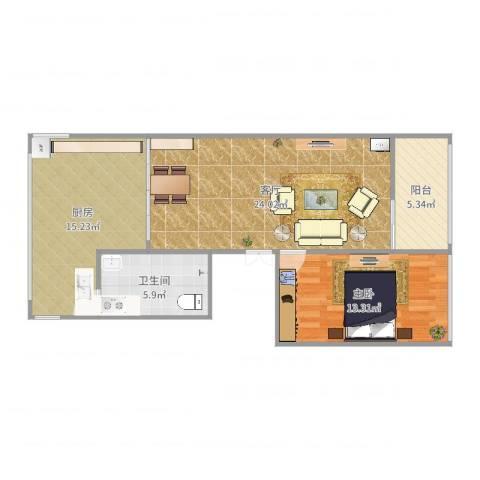 文明小区1室1厅1卫1厨80.00㎡户型图
