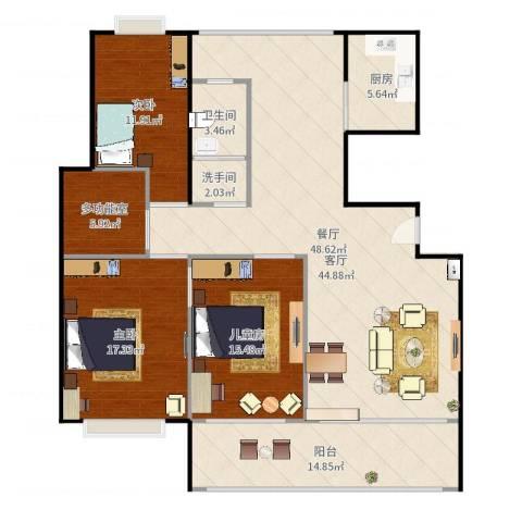 中天瑞景城3室1厅1卫2厨157.00㎡户型图