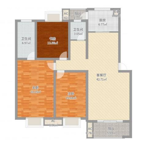 中天山语林居3室2厅2卫1厨151.00㎡户型图