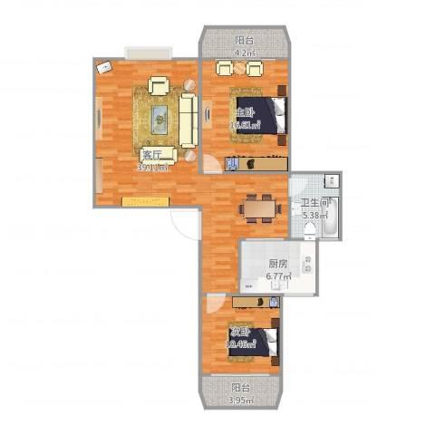 松柏华庭2室1厅1卫1厨108.00㎡户型图