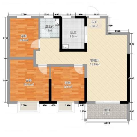 美的・公园天下3室2厅1卫1厨95.00㎡户型图