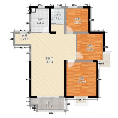 美的・公园天下3室2厅1卫1厨105.00㎡户型图