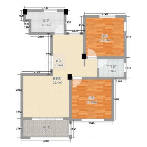 映像江南2室2厅1卫1厨90.00㎡户型图