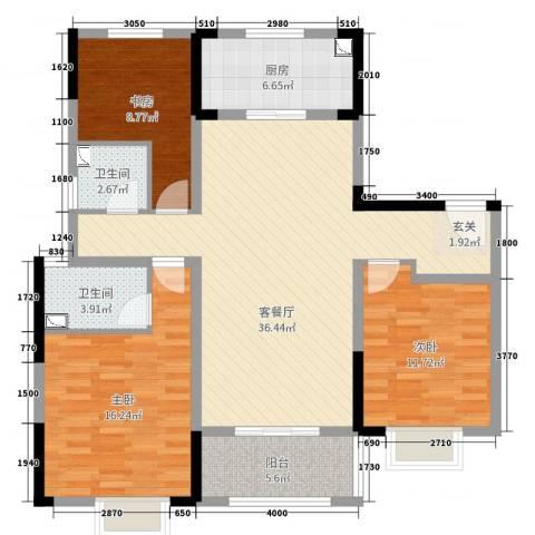 美的・公园天下3室2厅2卫1厨115.00㎡户型图