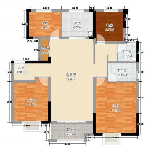 美的・公园天下4室2厅2卫1厨125.00㎡户型图