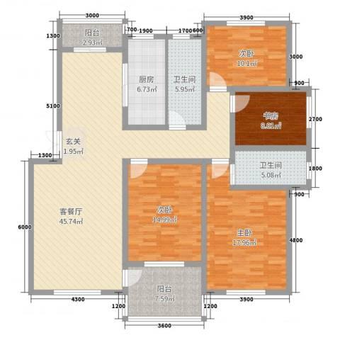 长运家园南苑4室2厅2卫1厨151.00㎡户型图