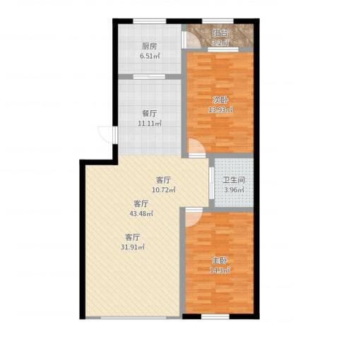 东大智慧鑫园2室1厅1卫1厨107.00㎡户型图
