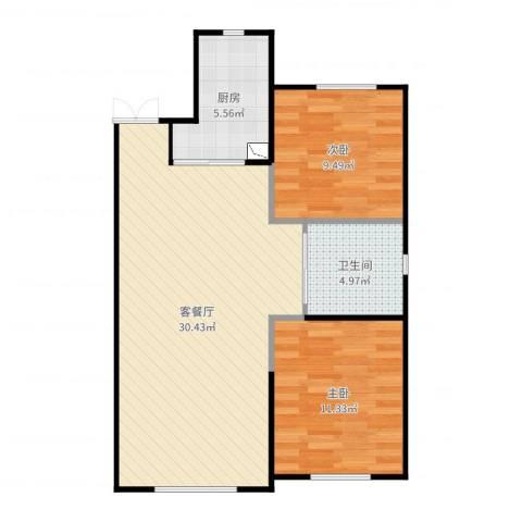 华府丹郡・乾豪d12室2厅1卫1厨77.00㎡户型图