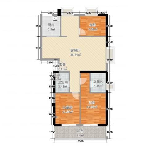富闽时代广场3室2厅2卫1厨115.00㎡户型图