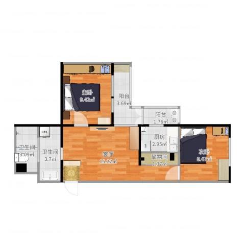 怡秀园2室1厅2卫1厨62.00㎡户型图