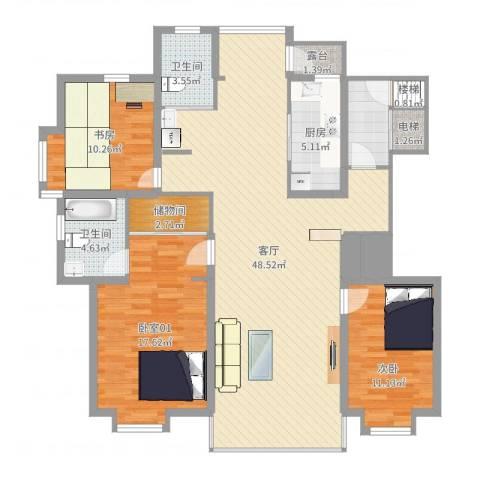 浑河湾2室1厅2卫1厨138.00㎡户型图