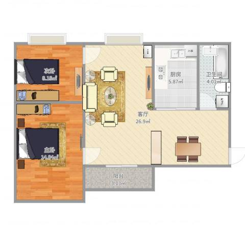 顺丰翠园2室1厅1卫1厨78.00㎡户型图