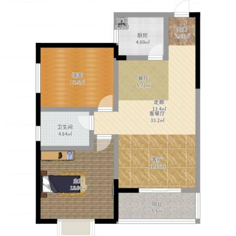 滨河御园1室2厅1卫1厨95.00㎡户型图