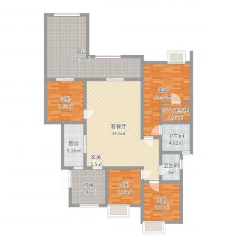 约克郡上林洋房4室2厅2卫1厨151.00㎡户型图