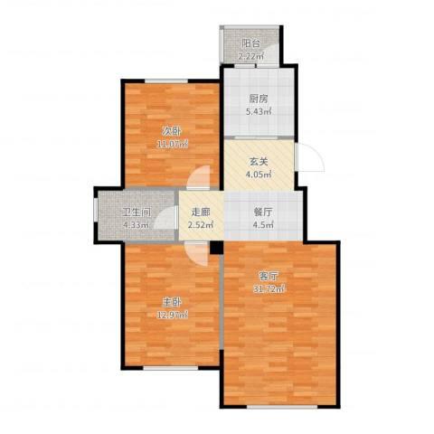 国安宜居2室1厅1卫1厨85.00㎡户型图