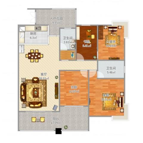 天瀑阳光4室1厅2卫1厨162.00㎡户型图