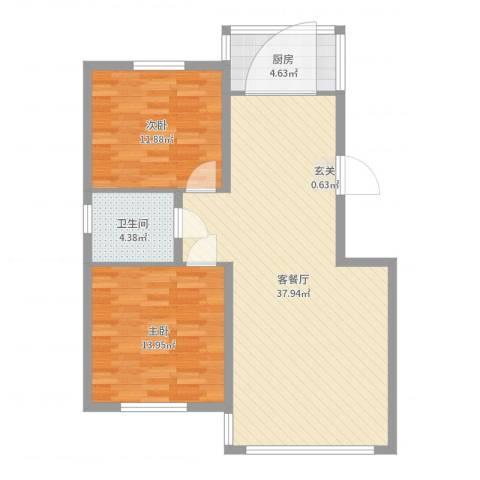 春天花园2室2厅1卫1厨91.00㎡户型图