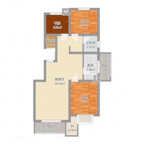 乡居假日3室2厅1卫1厨88.00㎡户型图