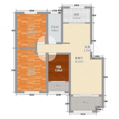 枫林绿洲3室2厅1卫1厨105.00㎡户型图
