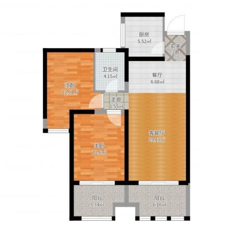中天锦庭2室2厅1卫1厨94.00㎡户型图