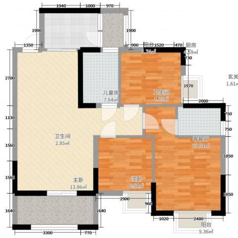 丽都城市花园3室2厅2卫1厨139.00㎡户型图