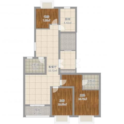 新湖青蓝国际3室2厅2卫1厨124.00㎡户型图