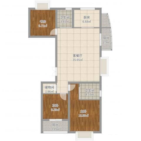 新湖青蓝国际3室2厅2卫1厨120.00㎡户型图