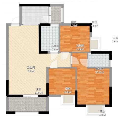 丽都城市花园3室2厅2卫1厨93.00㎡户型图
