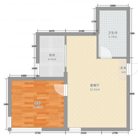 玉龙湾1室2厅1卫1厨63.00㎡户型图
