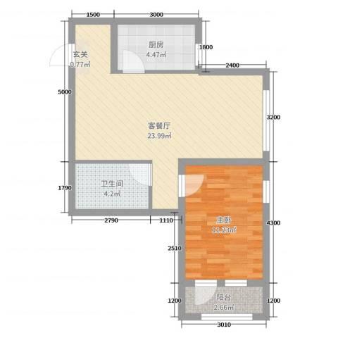 玉龙湾1室2厅1卫1厨69.00㎡户型图