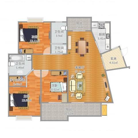 江欣苑3室2厅3卫1厨138.00㎡户型图