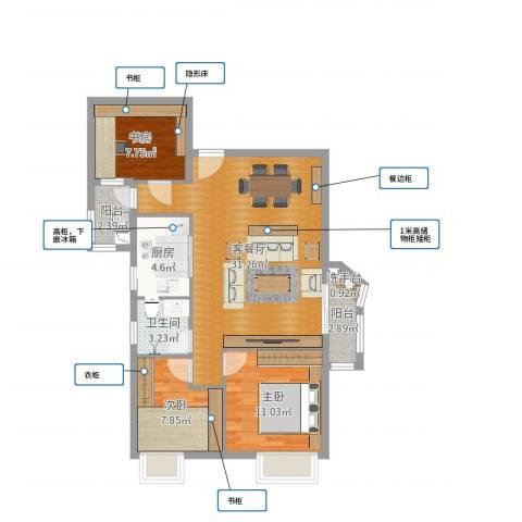 珠岛花园项目3室2厅1卫1厨89.00㎡户型图