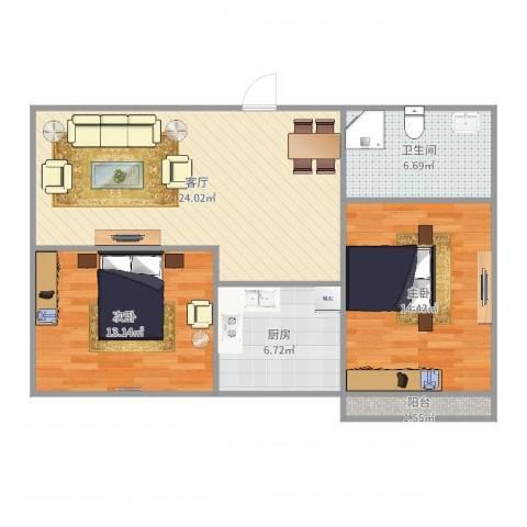 华信组团2室1厅1卫1厨83.00㎡户型图