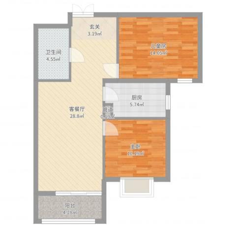 北京御园2室2厅1卫1厨85.00㎡户型图
