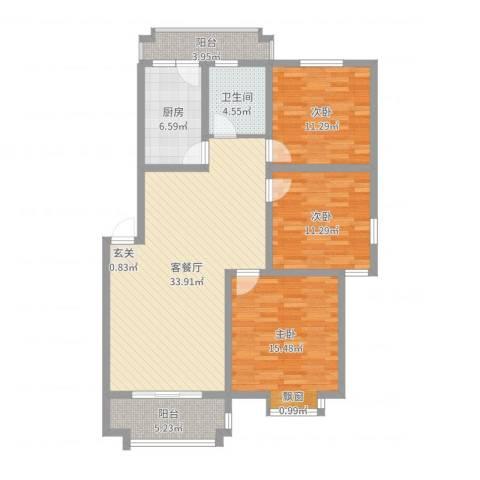 润峰・水岸名城3室2厅1卫1厨115.00㎡户型图