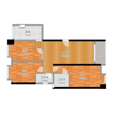 御景园小区3室2厅2卫1厨108.00㎡户型图