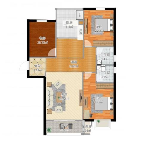 阳光水岸3室1厅2卫1厨122.00㎡户型图