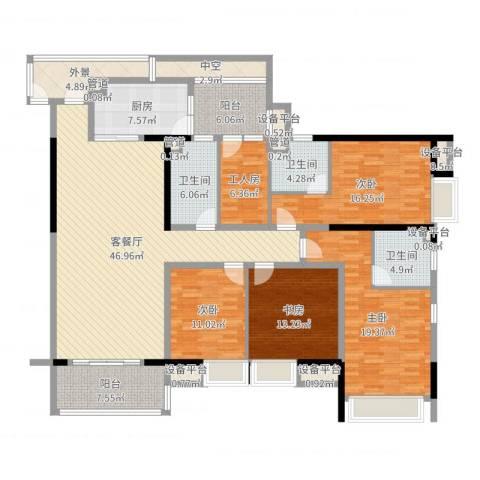 龙泉华苑4室2厅3卫1厨201.00㎡户型图