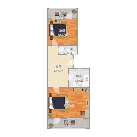 柳行小区2室1厅1卫1厨79.00㎡户型图