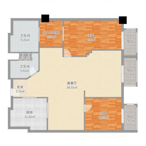 万都阿波罗2室2厅2卫1厨170.00㎡户型图