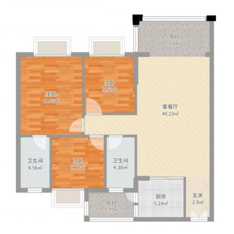胜球阳光花园3室2厅2卫1厨112.00㎡户型图
