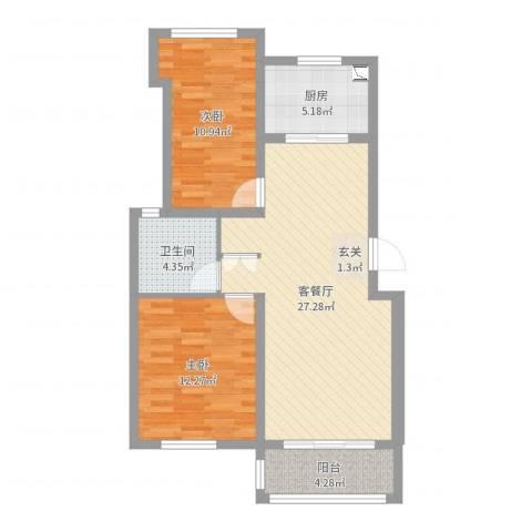 同城世家2室2厅1卫1厨80.00㎡户型图