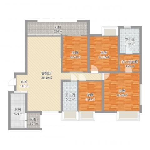保利外滩花园4室2厅2卫1厨146.00㎡户型图