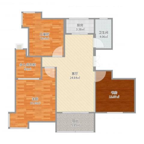 东港花园3室1厅1卫1厨106.00㎡户型图