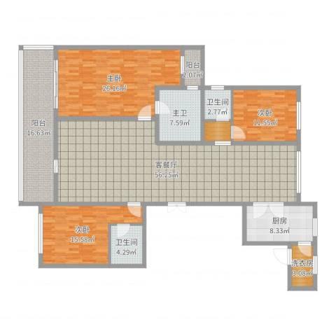 同进君望3室2厅2卫1厨195.00㎡户型图