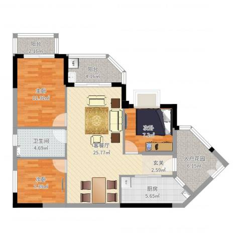 恒洲小苑3室2厅1卫1厨93.00㎡户型图