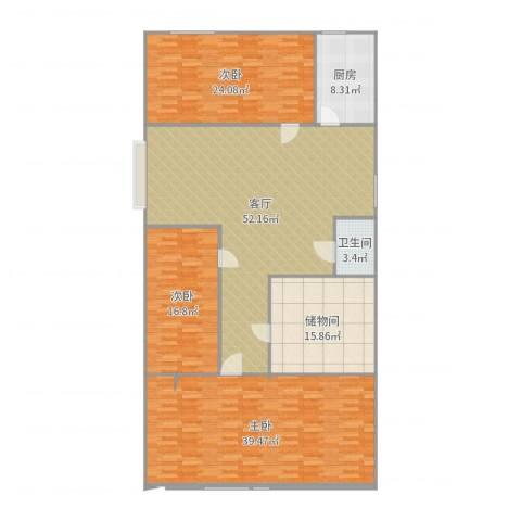 东大街东里3室1厅1卫1厨200.00㎡户型图