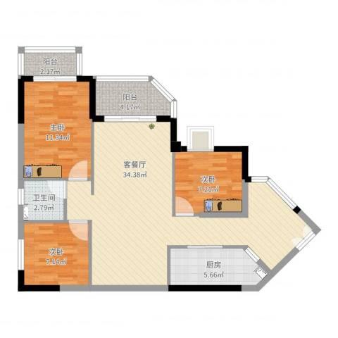 恒洲小苑3室2厅1卫1厨94.00㎡户型图