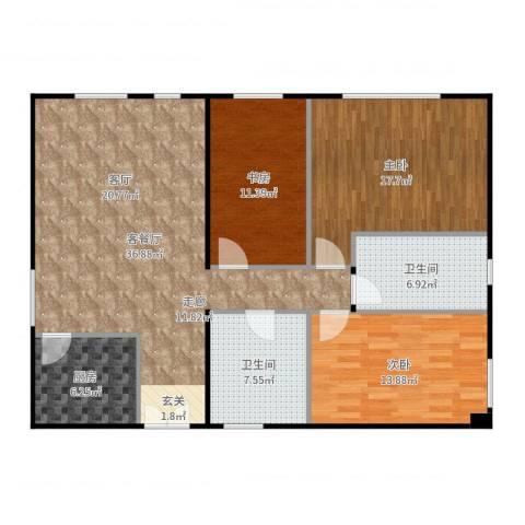 朝外MEN3室2厅2卫1厨126.00㎡户型图